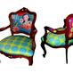 Cadeiras repaginadas com tecidos Bebel Franco.