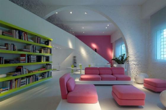 thumb sala moderna colorida Móveis rosa, sem medo.