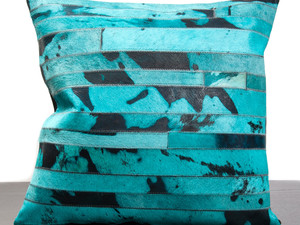 Turquoise Cow Hide Pillow