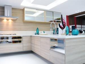 Cozinha-vidro reflecta