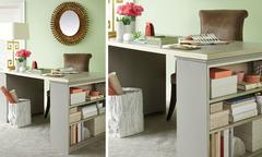 2 estantes baixinhas e 1 tampo de madeira - uma mesa para o home office