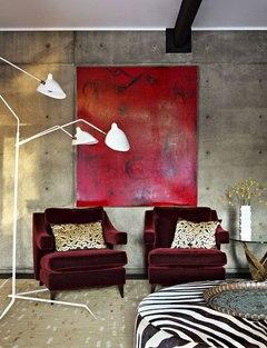 Vermelho na parede de concreto ... destaque.