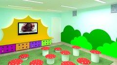 Sala de vídeo para educação infantil.  Projeto de cenografia e interiores para o Colégio Parque Maravilha.