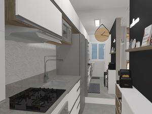 Cozinha bem aproveitada com móveis desenhados sob medida
