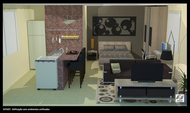 decorar uma kitnet: parte principal do studio: uma casa pequena de ambiente única p